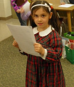 My daughter playing the part of Narrator