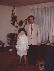 1984 My Dad and I all set to go to the Father/Daughter dance. I'm wearing a dress from The White Store