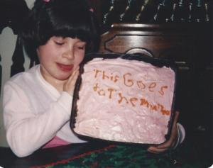 Here I am at age 7 with the first cake I ever made! I really thought I did a stroke with this one!!!