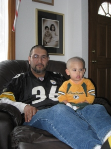 Dad messes up your haircut and you have to wear a Packer shirt