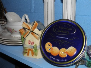 My tin of cookies from Iris proudly on display in my laundry room!