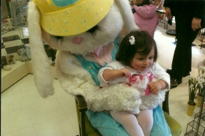 Iris with the Easter Bunny in 2007