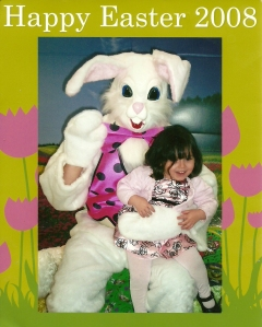 Iris with the Easter Bunny in 2008