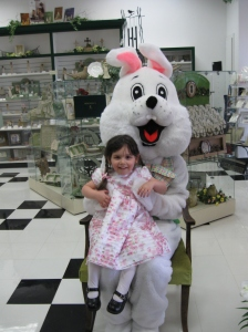 Iris with the Easter Bunny in 2009-Bency still didn't want anything to do with the Easter Bunny