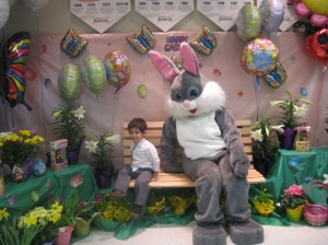 Bency finally went by the Easter Bunny in 2010..as you can see he still was a little leery!