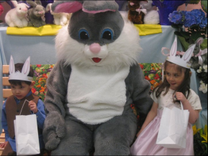 Bency and Iris with the Easter Bunny in 2011