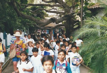 children on their way to school in Mexico