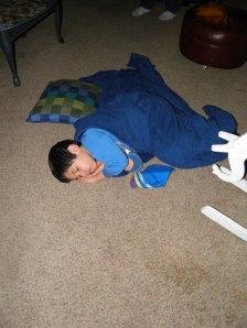 Bency just fell asleep on the floor