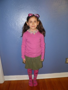 Iris wearing one of the crocheted collars to school today.