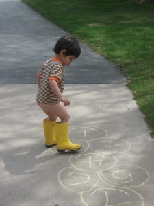 I'm sure in some states it's against the law to play hopscotch in rain boots and no pants!