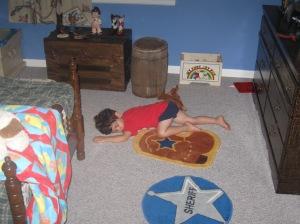 his bedroom floor