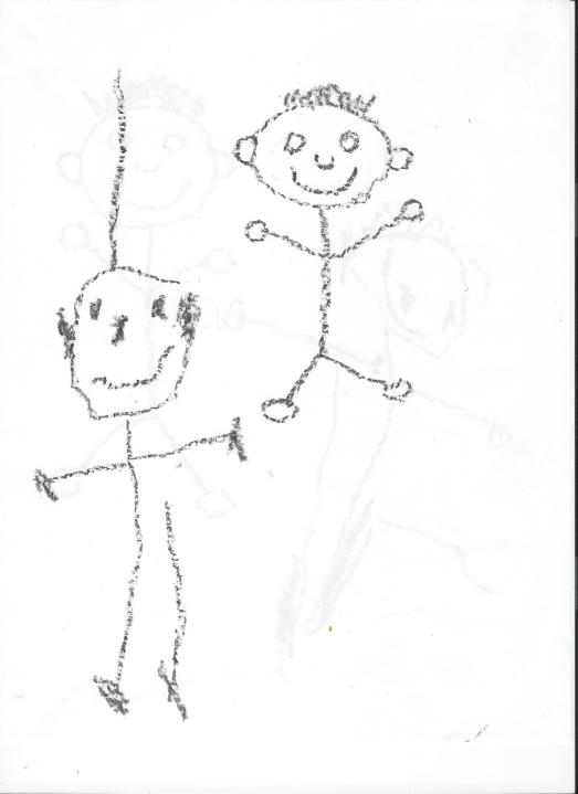 This is my 2 year old's picture. I drew the guy on the right and asked him if he could do that. This was his first try!