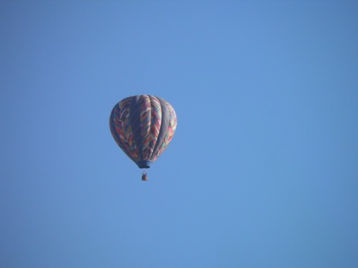 hot air balloon over my mother in law's house