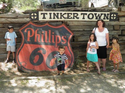 The kids and I at Tinkertown Museum
