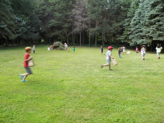 All of the kids playing a game of Four Corners to burn off all of the sugar they consumed!