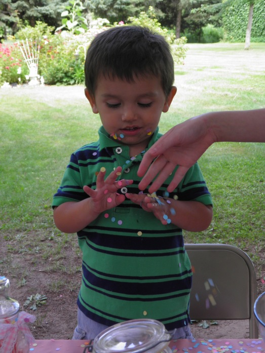 "My son was so sticky by the end of the day that all of the confetti on the candy table was sticking to him. My brother said he must have contracted a case of the ""candy pox""!"