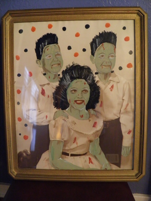 Painted old photograph for Halloween decoration